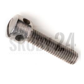 Wkręt do metalu z łbem walcowym z otworami i rowkiem DIN 404 kl.5.8 ocynk galwaniczny