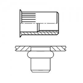 Nitonakrętka przelotowa z trzpieniem cylindrycznym radełkowanym z kołnierzem stożkowym zredukowanym Ocynk Galwaniczny