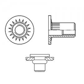 Nitonakrętka przelotowa z trzpieniem cylindrycznym radełkowanym z kołnierzem walcowym powiększonym Ocynk Galwaniczny