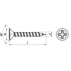 Wkręt do okien samowiercący z łbem stożkowym (DEEP)(Ph)