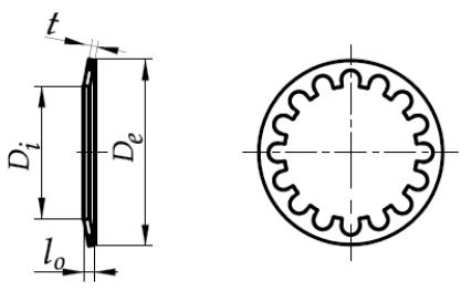 Sprężyna talerzowa do napinania łożysk ZĄBKOWANA stal sprężynowa fosfatowana 27,7-41,6