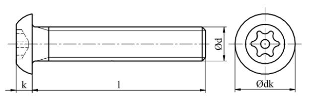 Śruba z łbem wypukłym i gniazdem Tx-pin Stal Nierdzewna A2