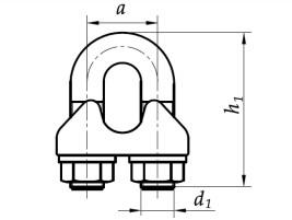 Zacisk kabłąkowy do liny wzmocniony DIN 1142 Ocynk Galwaniczny Żółty