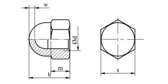 Nakrętka kołpakowa wys.jedno. DIN 1587 kl.6 Ocymk Galwaniczny