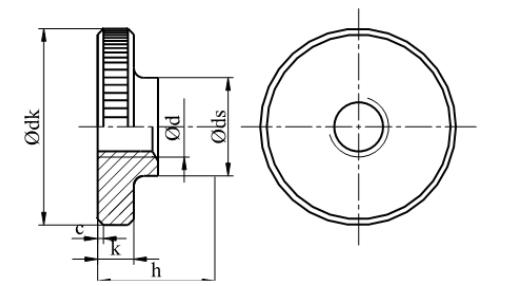 Nakrętka okrągła radełkowana niska DIN 467 kl.5 Ocynk Galwaniczny