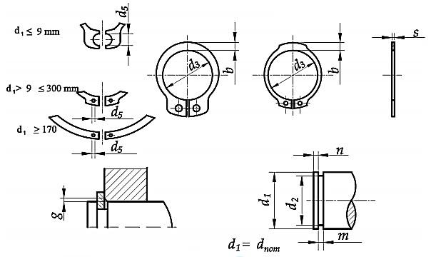 Pierścień DIN 471 Stal Fosfatowana 18-35