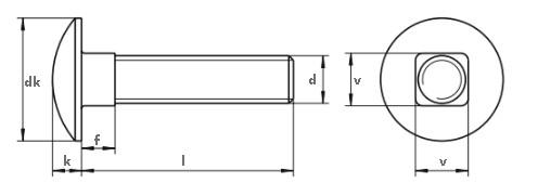 Śruba DIN 603 PG kl.8.8 Ocynk Płatkowy