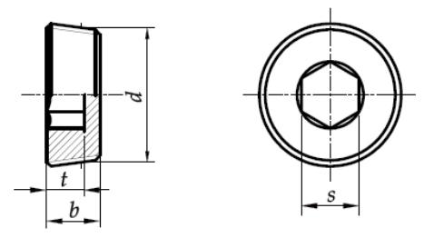 Korek gwintowany z gniazdem sześciokątnym DIN 906 Bez Pokrycia M22-M48