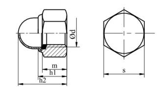 Nakrętka kołpakowa DIN 986 kl.8 Ocynk Galwaniczny