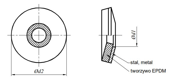 Podkładka z uszczelnieniem EPDM Ocynk Mechaniczny