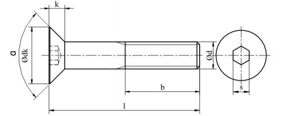 Śruba ISO 10642 PG Stal Nierdzewna A2