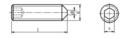 Śruba ISO 4027,DIN 914 kl.45H Ocynk Galwaniczny