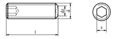 Śruba ISO 4029,DIN 916 Stal Nierdzewna A2
