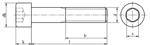 Śruba ISO 4762,DIN 912 NG kl.12.9 Bez Pokrycia M3-M18