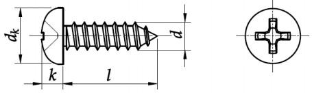 Wkręt do metalu ST ISO 7049C Stal Nierdzewna A2
