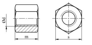 Nakrętka sześciokątna trapezowa, stal, Bez Pokrycia Tr30-Tr60
