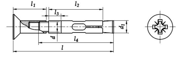 Kotwa tulejowa z łbem stożkowym Ocynk Galwaniczny Żółty