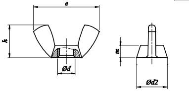 Nakrętka skrzydełkowa (amerykańska) Stal Nierdzewna A2