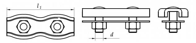 Zacisk blaszkowy do liny podwójny Ocynk Galwaniczny