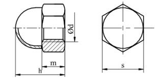Nakrętka kołpakowa (DROBNOZWOJNA) dwu. DIN 1587 kl.6 Ocynk Galwaniczny