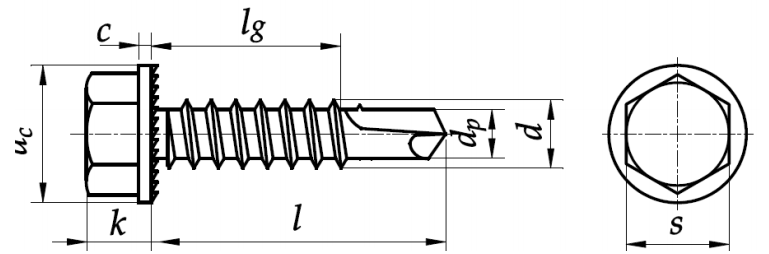 Wkręt samowiercący z łbem sześciokątnym ząbkowanym ISO 15480 Ocynk Galwaniczny