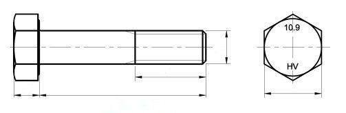 Śruba EN 14399-4,DIN 6914 kl.10.9 Ocynk Ogniowy