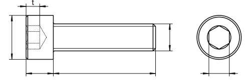 Śruba ISO 4762,DIN 912 PG kl.8.8 PŁA ZN