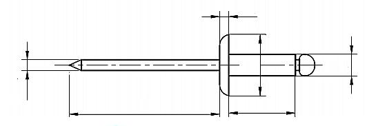 Nit z łbem płaskim powiększonym Aluminium/Stal Nierdzewna A2 (NM)
