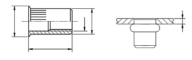 Nitonakrętka przelotowa z trzpieniem cylindrycznym radełkowanym z kołnierzem stożkowym zredukowanym Stal Kwasoodporna A4