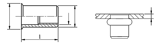 Nitonakrętka przelotowa z trzpieniem cylindrycznym z kołnierzem stożkowym zredukowanym Stal Nierdzewna A2