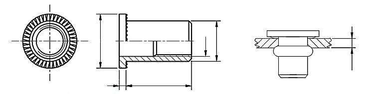 Nitonakrętka przelotowa z trzpieniem cylindrycznym z kołnierzem walcowym Aluminium