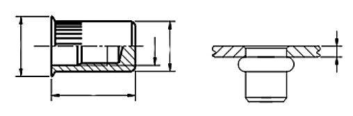 Nitonakrętka nieprzelotowa z trzpieniem cylindrycznym radełkowanym z kołnierzem stożkowym zredukowanym Ocynk Galwaniczny